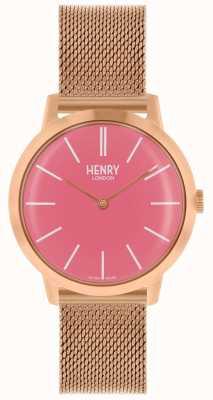 Henry London Iconische dameshorloge rosé gouden wijzerplaat roze wijzerplaat HL34-M-0272