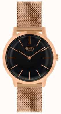 Henry London Iconische dameshorloge rosé gouden armband met zwarte wijzerplaat HL34-M-0234