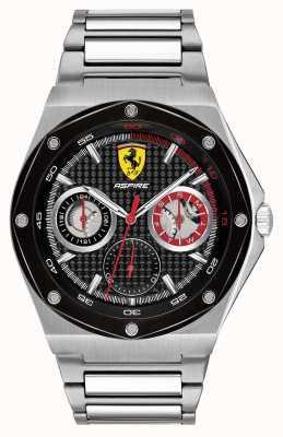 Scuderia Ferrari Mens streefde de datumvertoning van de roestvrij staal zwarte wijzerplaat 0830535