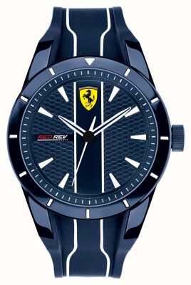 Scuderia Ferrari Redrev blauwe wijzerplaat blauwe rubberen band heren 0830541