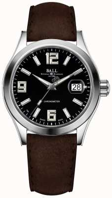 Ball Watch Company Engineer ii pioneer zwarte lederen band met zwarte wijzerplaat NM2026C-L4CAJ-BK