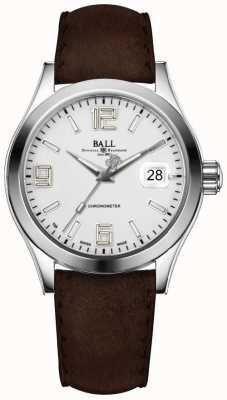 Ball Watch Company Engineer ii pioneer zilverbruine lederen band NM2026C-L4CAJ-SL