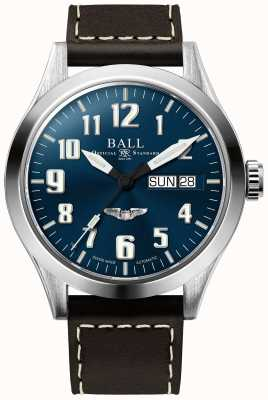 Ball Watch Company Engineer iii zilveren ster bruine lederen band blauwe wijzerplaat NM2182C-L3J-BE