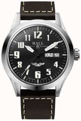 Ball Watch Company Engineer iii zilver ster bruin lederen riem blackdial NM2182C-L3J-BK