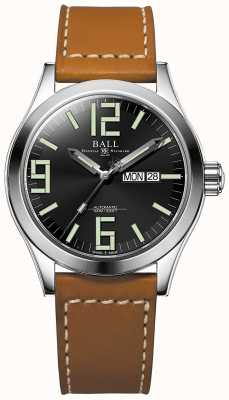 Ball Watch Company Engineer ii genesis zwarte wijzerplaat tan lederen band dag & datum NM2028C-LBR7J-BK