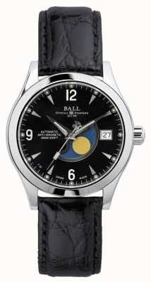 Ball Watch Company Ohio maanfase automatische zwarte datum display lederen band NM2082C-LJ-BK