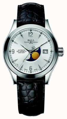 Ball Watch Company Ohio maanfase automatische zilveren datumweergave lederen band NM2082C-LJ-SL