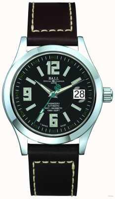 Ball Watch Company Arabische 40 mm automatische zwarte wijzerplaat zwarte lederen band datum NM1020C-LF4-BK