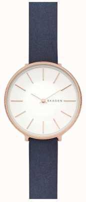 Skagen Dames karolina blauwe lederen band rosé gouden kast horloge SKW2723