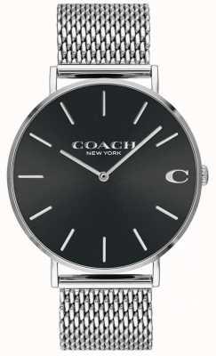 Coach Zwarte charles heren armband van mesh met zwarte wijzerplaat 14602144