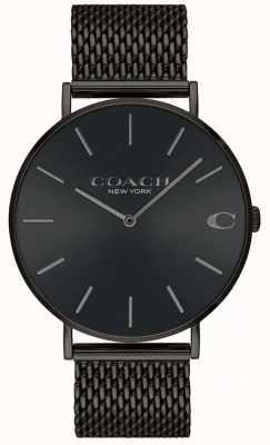Coach Mens charles zwart mesh armband zwart wijzerplaathorloge 14602148