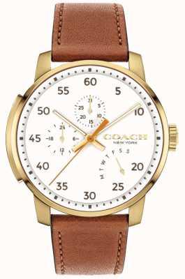 Coach Heren bleecker horloge multifunctionele witte wijzerplaat 14602340