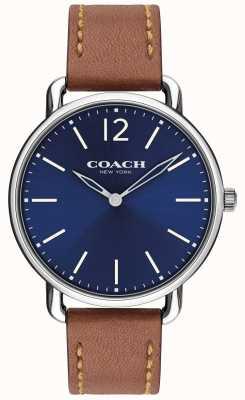 Coach Mens delancey slim horloge blauwe wijzerplaat lederen band 14602345