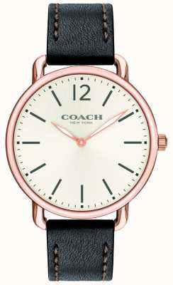 Coach Heren delancey slim horloge witte wijzerplaat zwarte lederen band 14602347
