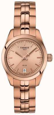 Tissot Dames pr100 rose gouden armband parelmoer wijzerplaathorloge T1010103345100