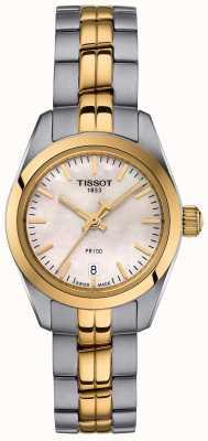 Tissot Dames pr100 two tone armband parelmoer wijzerplaathorloge T1010102211100
