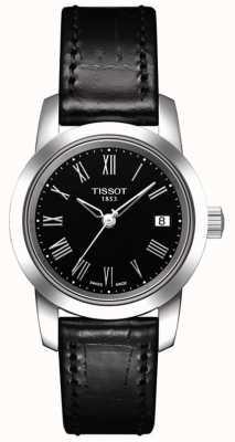 Tissot Zwarte wijzerplaat dames klassiek zwart lederen band T0332101605300
