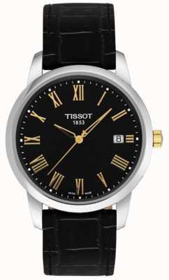 Tissot Heren klassieke droom zwart leer zwarte wijzerplaat Romeinse cijfers T0334102605301