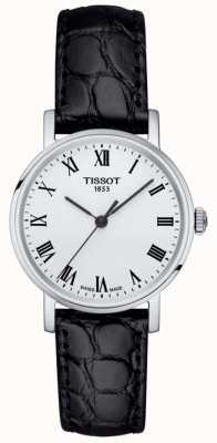 Tissot Klassieke witte wijzerplaat, altijd zwart, zwart lederen band T1092101603300