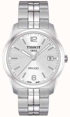 Tissot Mens pr100 roestvrij staal zilveren wijzerplaat Zwitsers gemaakt T0494101103701