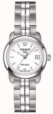 Tissot Dames pr100 roestvrij staal zilver wijzerplaat Swiss made T0492101101700