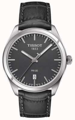 Tissot Pr100 reliëf grijze lederen band grijze wijzerplaat heren T1014101644100