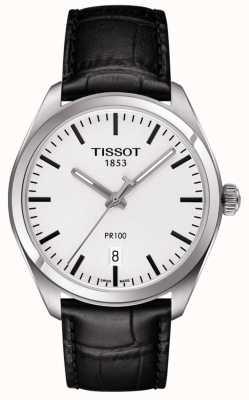 Tissot Mens pr100 zwarte lederen band grijze wijzerplaat T1014101603100