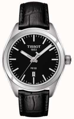 Tissot Zwarte leren wijzerplaat zwart pr100, zwart lederen band T1012101605100