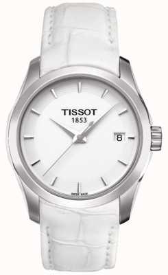 Tissot Womens couturier witte lederen witte wijzerplaat T0352101601100