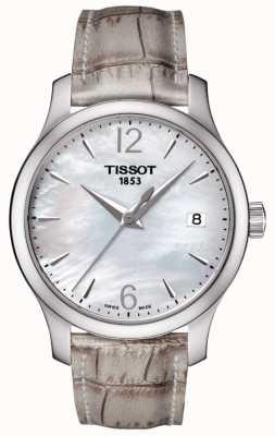 Tissot Womens traditie parelmoer wijzerplaat grijze riem T0632101711700