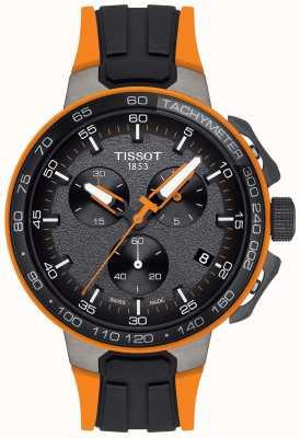 Tissot Heren t-race wielrennen zwart oranje rubberen band T1114173744104
