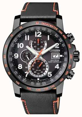 Citizen Mens radio gecontroleerde lederen eco-drive wereldtimer chrono AT8125-05E