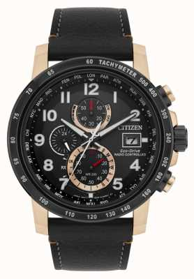 Citizen Mens eco-drive lederen band verguld radiogestuurd AT8126-02E