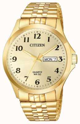 Citizen Mens quartz vergulde uitbreiding armband dag datum BF5002-99P