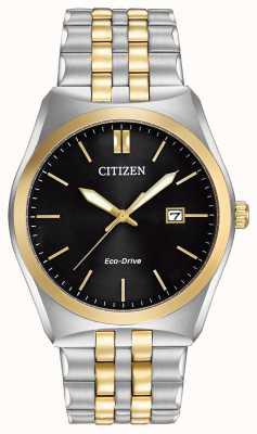 Citizen Corso Eco-Drive herenhorloge van roestvrij staal en goud met zwarte IP-wijzerplaat BM7334-58E