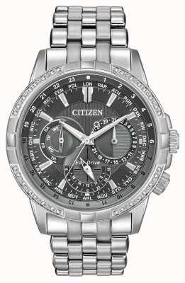 Citizen Eco-drive calendrier roestvrij staal 32 diamanten grijze wijzerplaat BU2080-51H