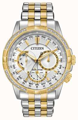 Citizen Mens calendrier eco-drive two tone 32 diamanten zilveren wijzerplaat BU2084-51A