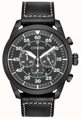 Citizen Avion eco-drive zwarte leren zwarte wijzerplaat chronograaf heren CA4215-21H