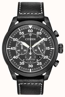 Citizen Heren avion eco-drive zwart lederen zwarte wijzerplaat chronograaf CA4215-21H