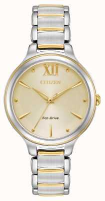 Citizen Womens eco-drive tweekleurige gouden wijzerplaat wr50 EM0554-82X