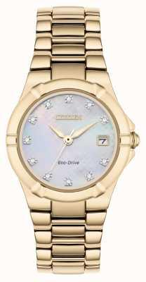 Citizen Womens eco-drive diamanten wijzerplaat rose verguld EW1533-50D