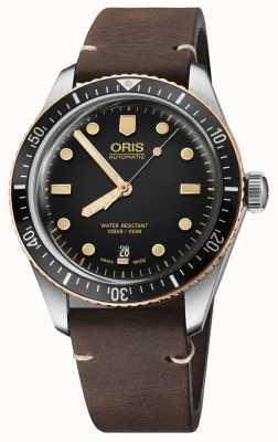 Oris Divers vijfenzestig bruin lederen band 01 733 7707 4354-07 5 20 55