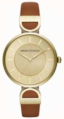 Armani Exchange Bruin lederen riem van Brooke AX5324