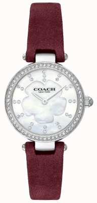 Coach Dames moderne luxe bordeaux lederen band parelmoer 14503102