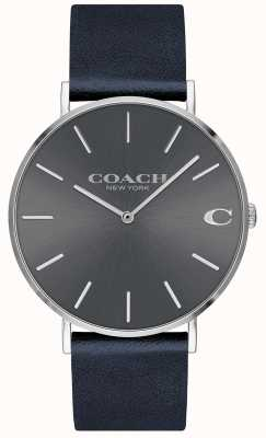 Coach Mens charles navy band grijze wijzerplaat horloge 14602150
