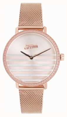 Jean Paul Gaultier Glam navy dames rose goudkleurig mesh armband horloge JP8505601