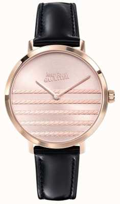 Jean Paul Gaultier Zwart lederen horlogeband van Glam Navy JP8505605