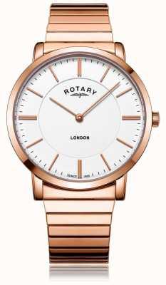 Rotary Herenvering in roségoud uitlopend armband horloge in edelstaal GB02767/02