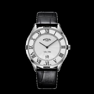 Rotary Heren ultra slank zwart lederen band stalen kast horloge GS08400/29