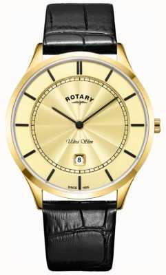 Rotary Ultra slank goud goud lederen band heren GS08413/03